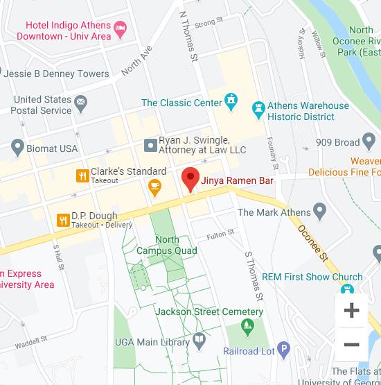 Map of Jinya 351 E Broad St. Athens, GA 30601