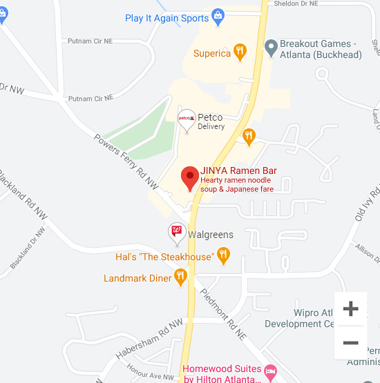 Map of Jinya 3714 Roswell Rd. Atlanta, GA 30342