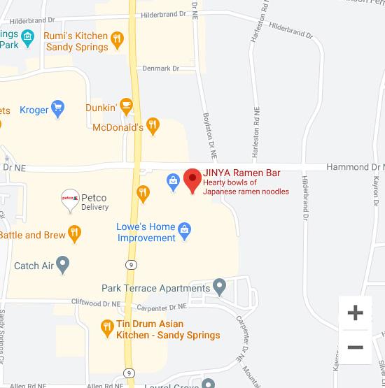 Map of Jinya 5975 Roswell Rd. Sandy Springs, GA 30328