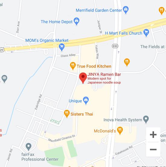 Map of Jinya 2911 District Ave. Suite 140, Fairfax, Virginia 22031