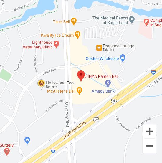 Map of Jinya 13509 University Blvd. Sugar Land, TX 77479