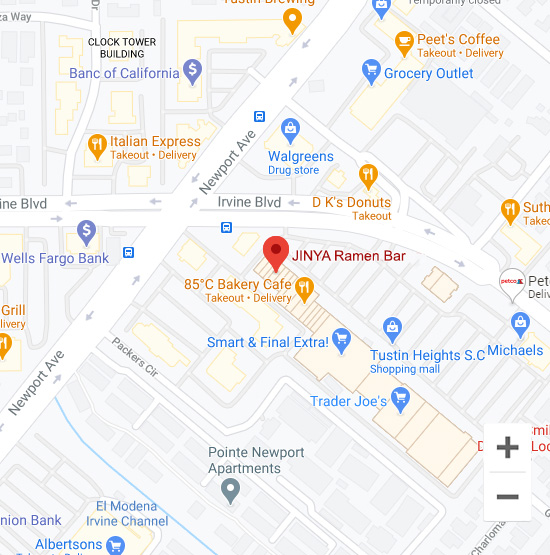Map of Jinya 1086 Irvine Blvd. Tustin, CA 92780