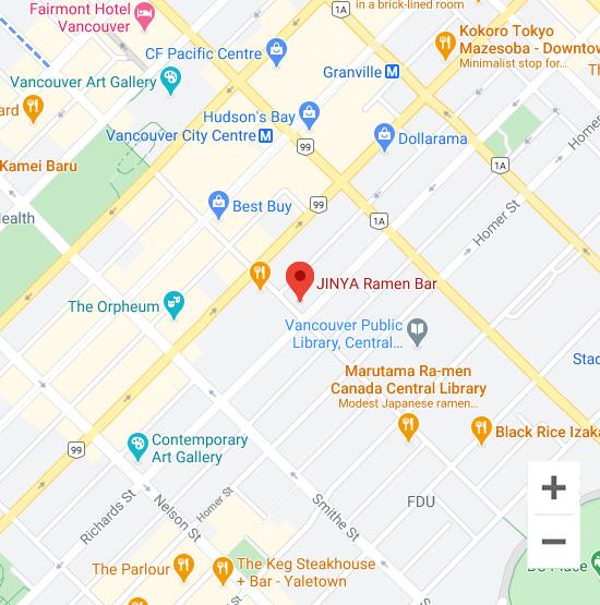 Map of Jinya 541 Robson St. Vancouver, BC V6B 2B7
