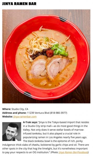 Jinya Ramen Bar ramen bowl on table