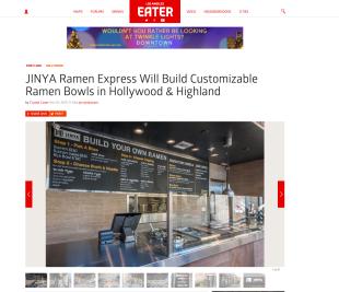 LA Eater: JINYA Ramen Express Will Build Customizable Ramen Bowls in Hollywood & Highland  by LA Eater