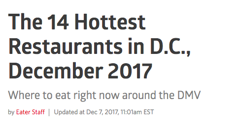 Eater Washington DC: The 15 Hottest Restaurants in D.C., March 2020