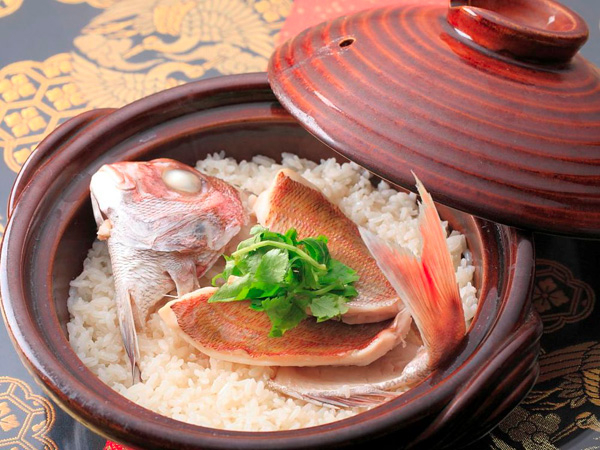 Bowl with fish and rice