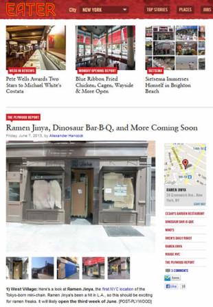 Eater New York: Ramen Jinya, Dinosaur Bar-B-Q, and More Coming Soon