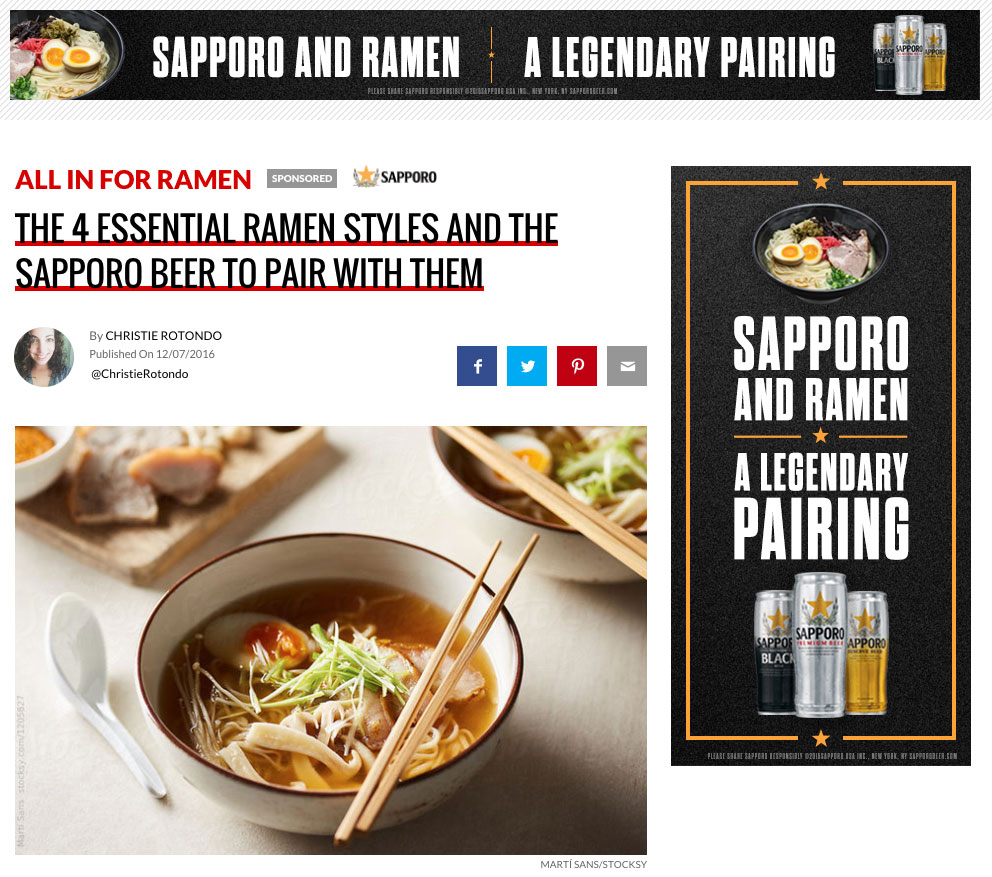 Thrillist: The 4 Essential Ramen Styles And The Sapporo Beer To Pair With Them
