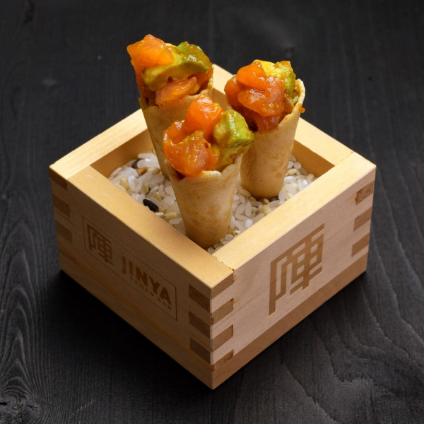 Click to expand image of Spicy Tuna and Salmon Cones.