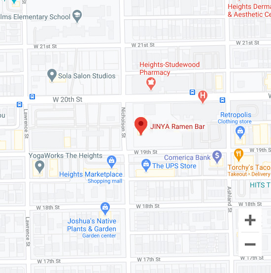 Map of Jinya 449 W 19th St. Houston, TX 77008