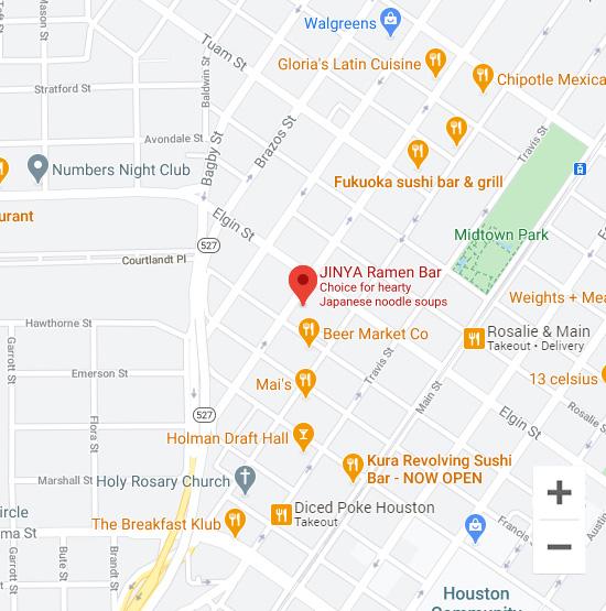 Map of Jinya 3201 Louisiana St. Houston, TX 77002