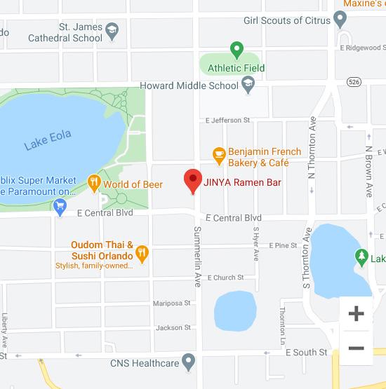Map of Jinya 8 N Summerlin Ave. Orlando, FL 32801