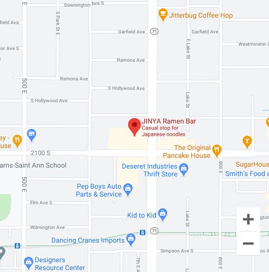 Map of Jinya 675 East 2100 South Salt Lake City, UT 84106