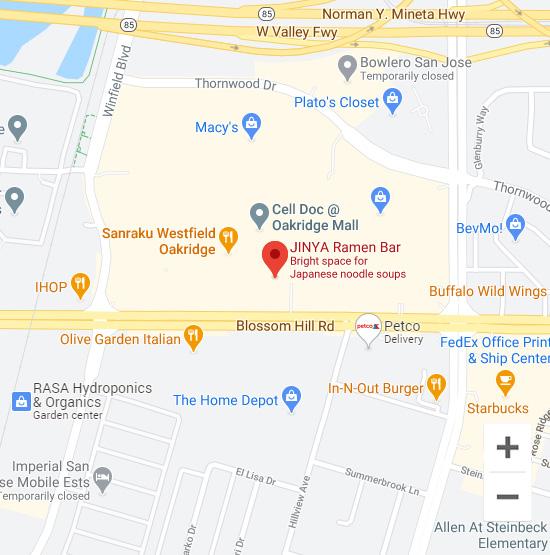Map of Jinya 925 Blossom Hill Rd. San Jose, CA 95123