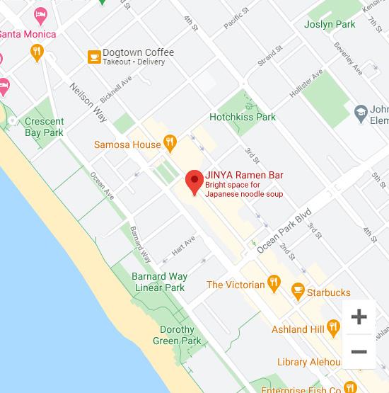 Map of Jinya 2400 Main St. Santa Monica, CA 90405