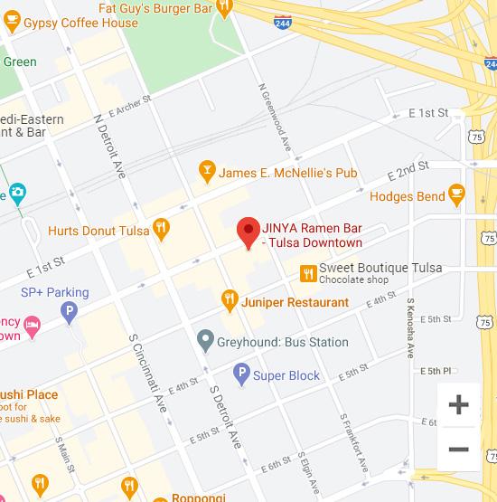 Map of Jinya 416 E 2nd St. Tulsa, OK 74120