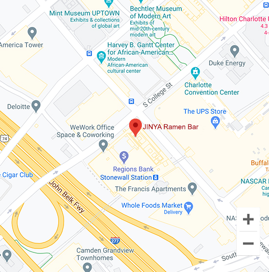Map of Jinya 601 S Tryon St Charlotte, NC 28202