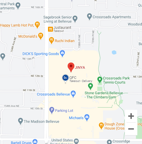 Map of Jinya 15600 NE 8th St. Bellevue, WA 98008